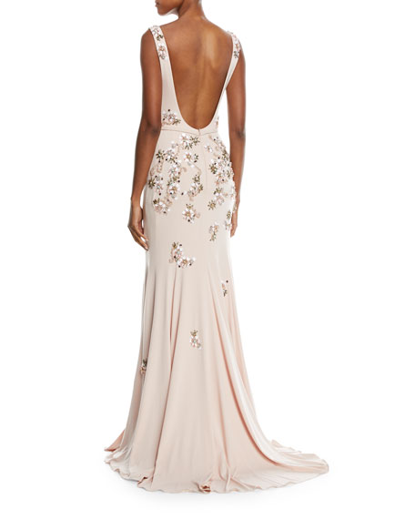 Floral Embellished Open-Back Gown