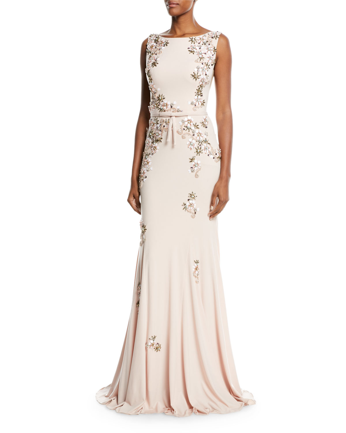 Jovani Floral Embellished Open-Back Gown | Neiman Marcus