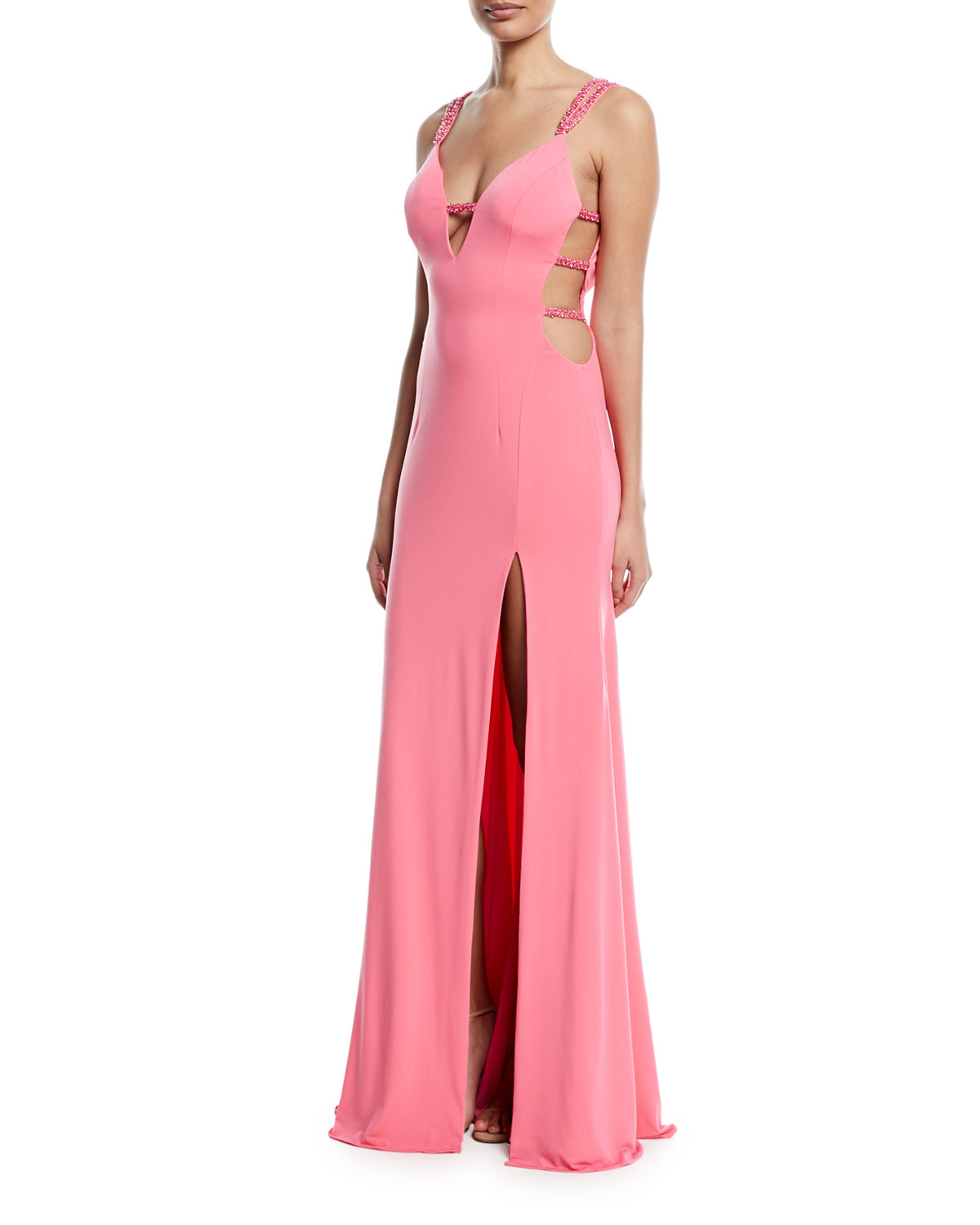 Jovani Strappy Plunging-Neck High-Slit Gown | Neiman Marcus