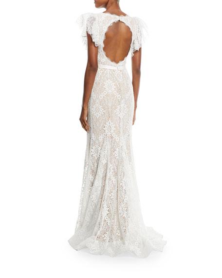 Ruffle Lace Appliqué Trumpet Gown