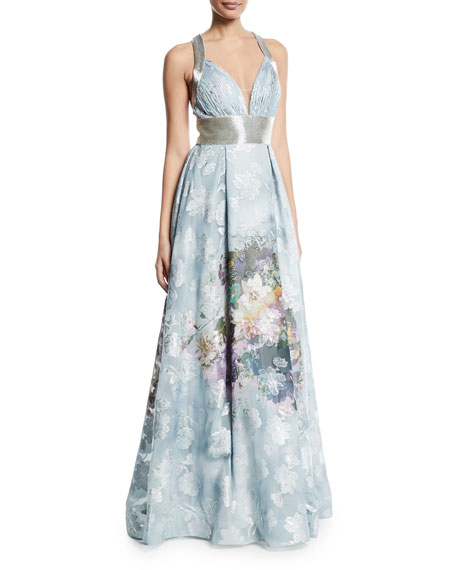 Floral Embroidered Halter Ball Gown