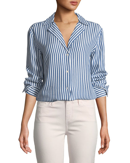 PAIGE Elora Button-Down Striped Shirt