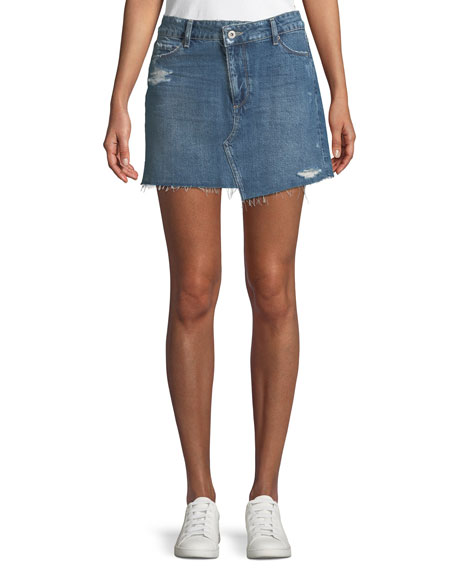 PAIGE Afia A-Line Distressed Denim Mini Skirt