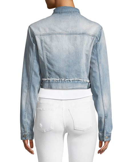 Shawn Button-Front Cropped Denim Boyfriend Jacket