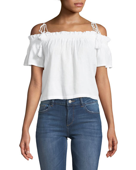 DL1961 Premium Denim Cornelia Off-the-Shoulder Linen Top