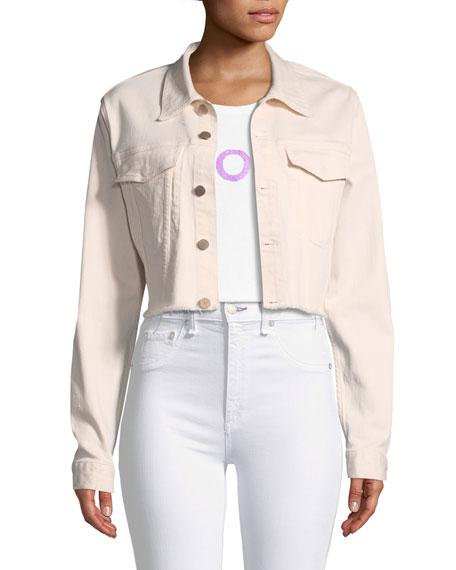 Shawn Button-Front Cropped Denim Jacket