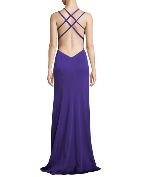 Strappy Halter Crepe Satin Gown