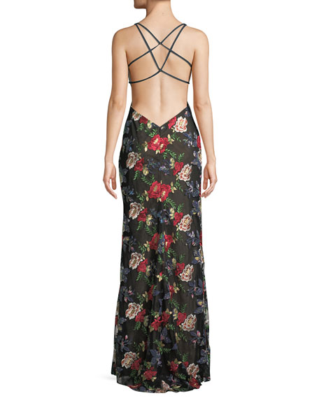 All Over Floral Embroidered Strappy Gown