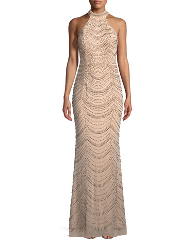Allover Beaded Gown w/ Open Back