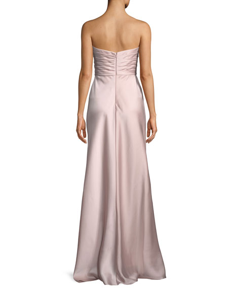 Strapless Gathered Satin Column Gown