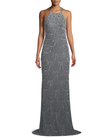 Allover Beaded Open-Back Gown