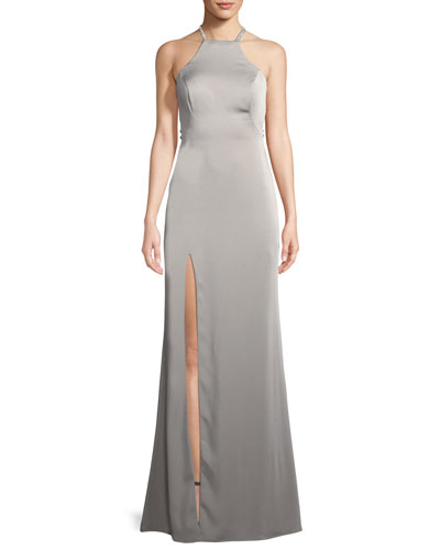 Jersey Sleeveless Gown w/ Beaded Straps