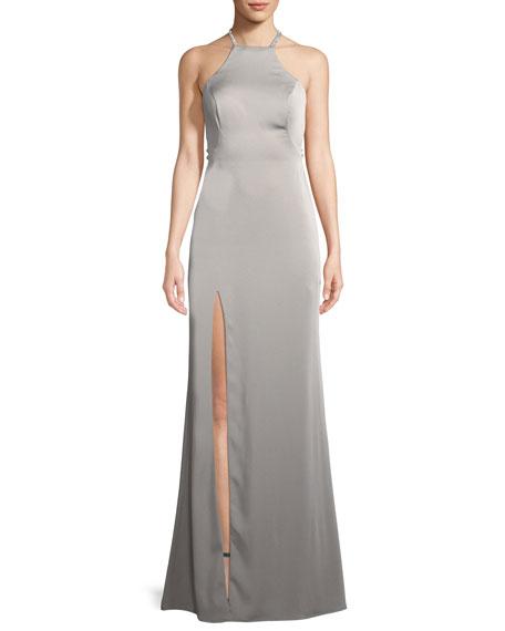 La Femme Jersey Sleeveless Gown w/ Beaded Straps