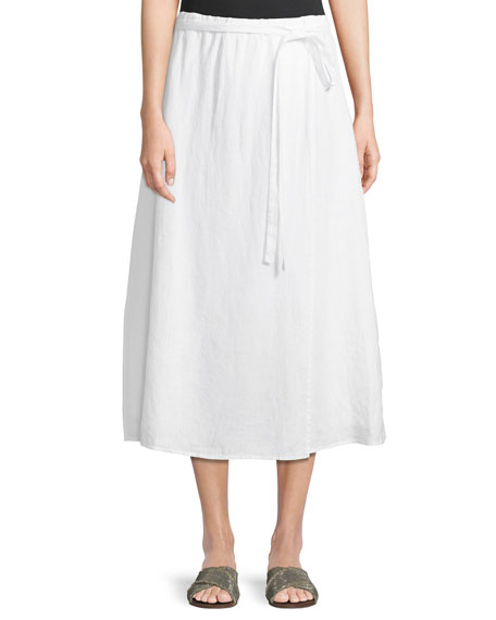 Faux-Wrap Linen Midi Skirt