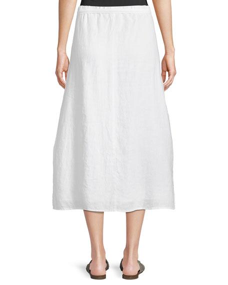 Faux-Wrap Linen Midi Skirt, Petite