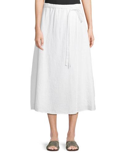 Faux-Wrap Linen Midi Skirt  Petite