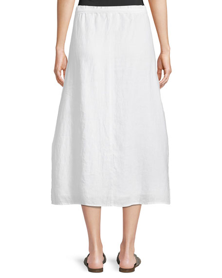 Faux-Wrap Linen Midi Skirt, Plus Size
