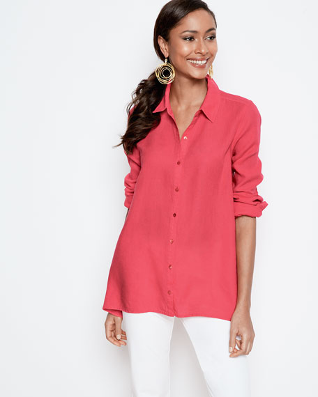 Button-Front Organic Linen Boxy Shirt, Plus Size