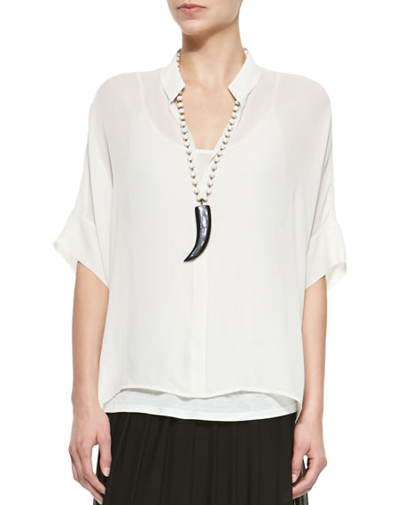 Eileen Fisher 3/4-Sleeve Silk Box Top, Petite