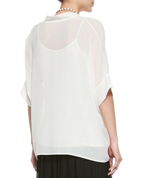 3/4-Sleeve Silk Box Top, Plus Size