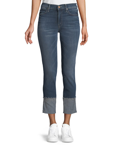 MOTHER Pony Boy Straight-Leg Ankle Fray Jeans