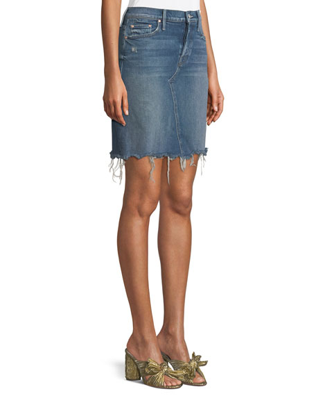 Tomcat Straight Denim Mini Skirt w/ Fray Hem
