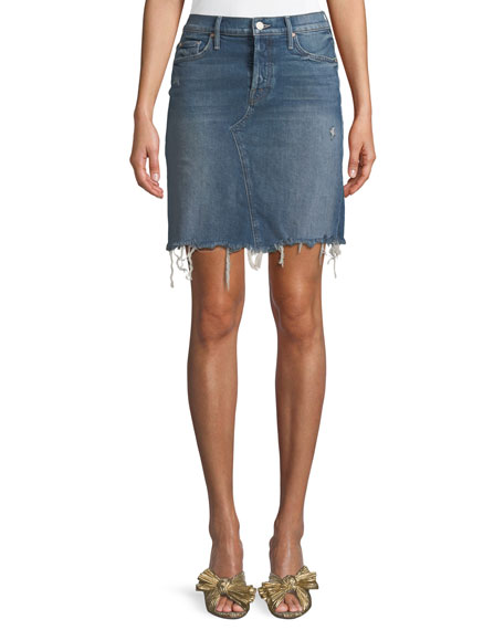 Mother Tomcat Straight Denim Mini Skirt w/ Fray