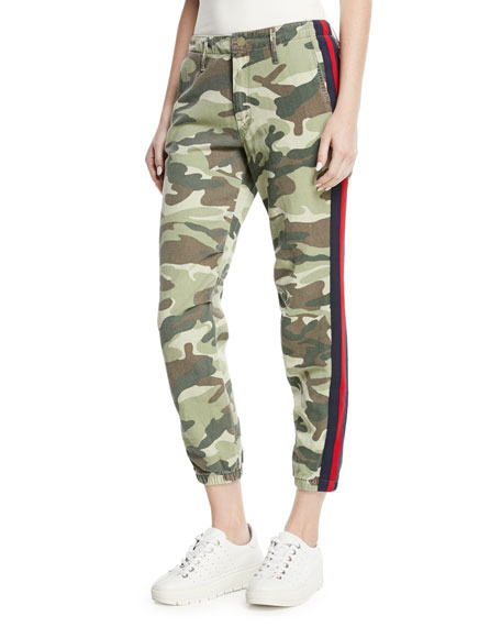 No-Zip Misfit Straight-Leg Camo-Print Cropped Pants w/ Side Stripe