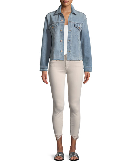 High-Waist Looker Dagger Ankle Fray Jeans