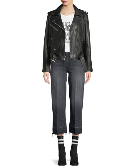Roller Crop Straight-Leg Jeans with Undone Hem
