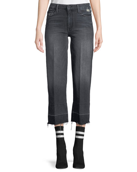 MOTHER Roller Crop Straight-Leg Jeans with Undone Hem