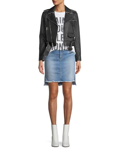 High-Low Denim Skirt