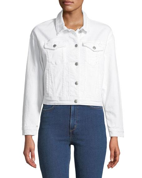 Dolman-Sleeve Button-Front Crop Denim Jacket