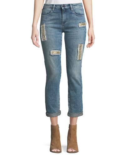 Club 55 Lily Slim Skinny-Leg Jeans w/ Embroidery