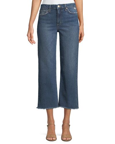 Wyatt Wide-Leg Crop Jeans w/ Frayed Hem