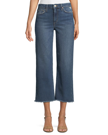 Wyatt Wide-Leg Crop Jeans w/ Frayed Hem