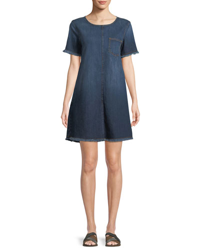 The Frayed Crewneck Short-Sleeve Denim Shift Dress