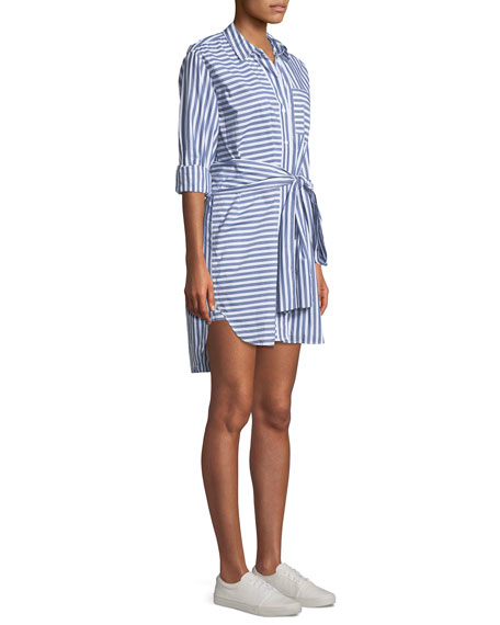 The Alda Striped Self-Tie Shirtdress