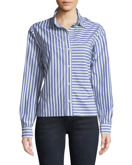 The Des Stripe Tieback Cotton Shirt