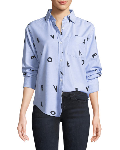 Current/Elliott The Derby LOVE Button-Down Shirt w/ Love
