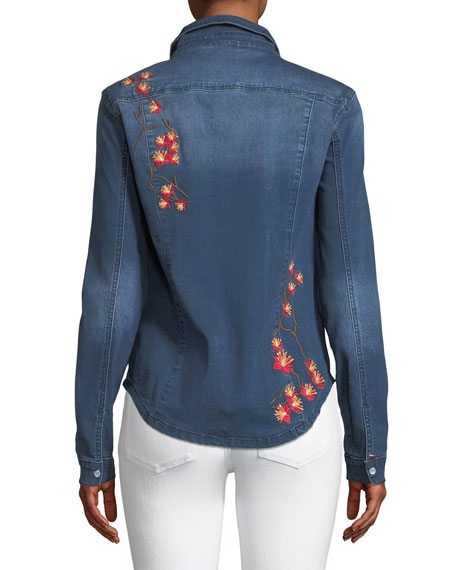 Long-Sleeve Snap-Front Stretch-Denim Shirt w/ Floral-Embroidery
