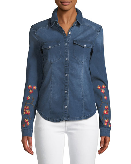 Etienne Marcel Long-Sleeve Snap-Front Stretch-Denim Shirt w/