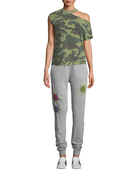 Floral-Embroidered Drawstring Jogger Sweatpants