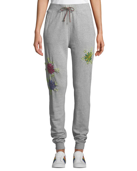 Etienne Marcel Floral-Embroidered Drawstring Jogger Sweatpants