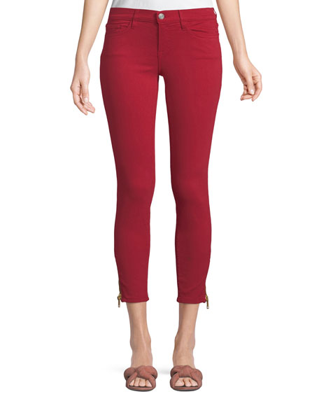 ETIENNE MARCEL Mid-Rise Skinny Jeans W/ Side-Zip Hem in Red