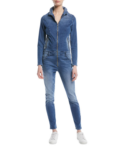 Zip-Front Long-Sleeve Stretch-Denim Jumpsuit