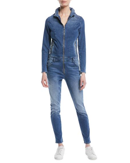 Zip-Front Long-Sleeve Stretch-Denim Jumpsuit