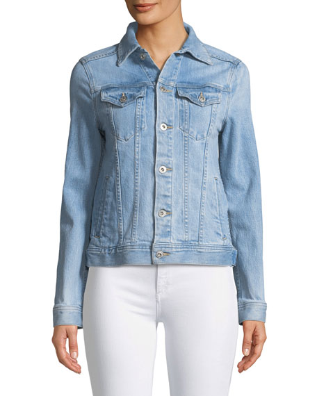Mya Button-Front Light-Wash Denim Jacket