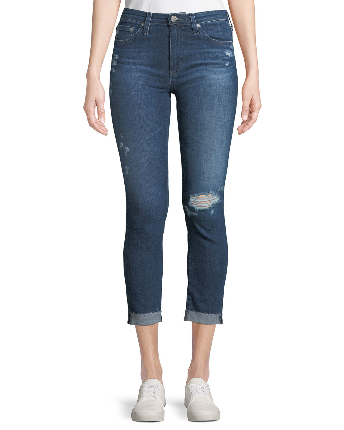 4e0584d3a5cf AG Adriano Goldschmied Prima Mid-Rise Skinny Crop Roll-Up Jeans ...