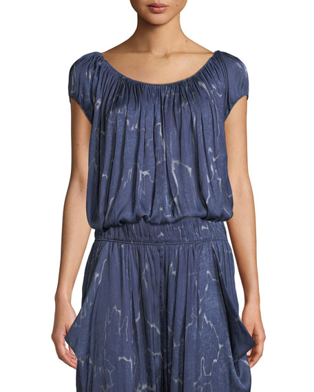 Halston Heritage Ruched-Neck Short-Sleeve Top and Matching Items